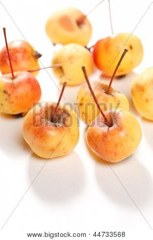 golden delicious juicy apples on white