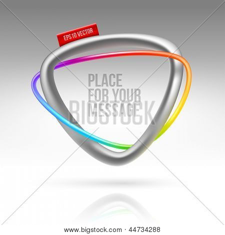 Abstract frame with tubular colorful element and red label - vector illustration