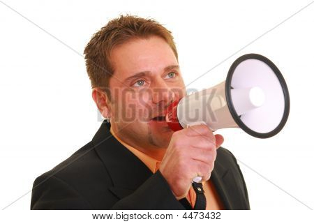 Business Man Talking Into A Megaphone