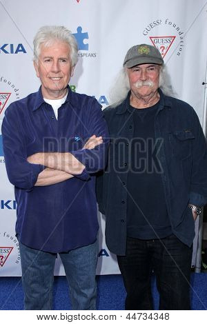 LOS ANGELES - APR 13:  Graham Nash, David Crosby arrives at the Light Up The Blues Concert Benefitting Autism Speaks at the Club Nokia on April 13, 2013 in Los Angeles, CA