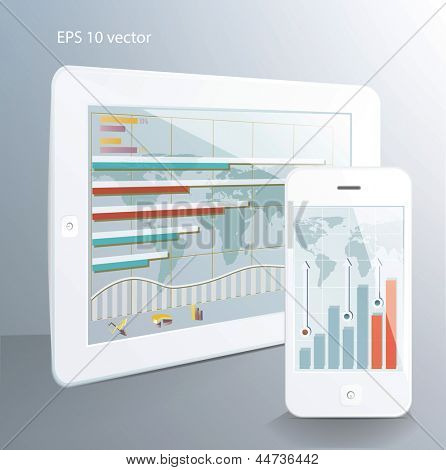Business  concept: tablet computer and  touchscreen smartphone with stock market applications. Vector illustration.