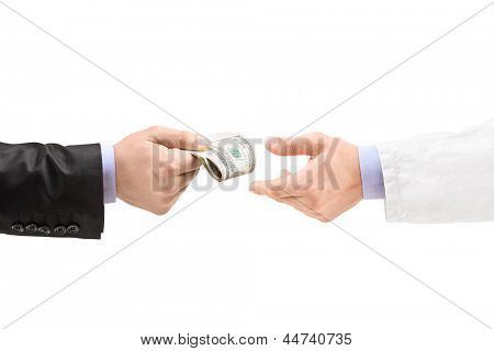 Man giving bribe to a doctor, isolated on white background