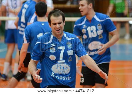 KAPOSVAR, HUNGARY - APRIL 15: Andras Geiger (in blue 7) in action at a Hungarian National Championship volleyball game Kaposvar (blue) vs. Kecskemet (white), April 15, 2013 in Kaposvar, Hungary.