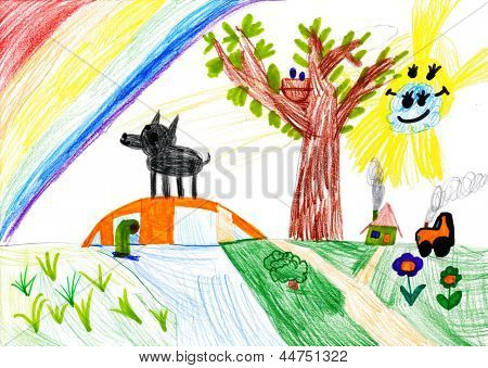 dog on meadow. child's drawing