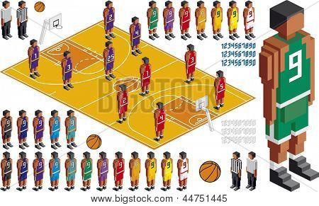 Vector ilustración de baloncesto táctica Kit, los elementos están en capas para poder editarlos fácilmente