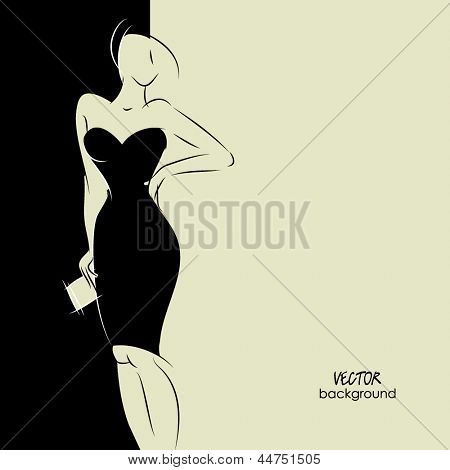 art background with beautiful young woman in party dress with clutch bag, sketch vector in black and white