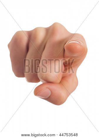 Close-up Of Human Hand Pointing Over White Background