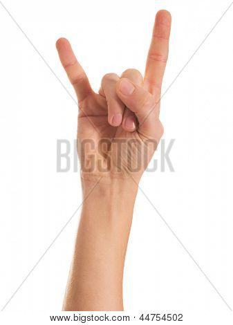 Human Hand Gesturing Hand Sign On White Background