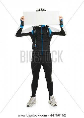 Young Male Cyclist Holding Placard Isolated On White Background