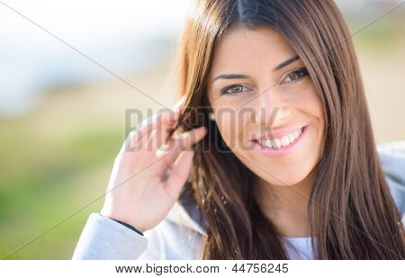 Portrait Of Young Happy Beautiful Woman; Outdoors