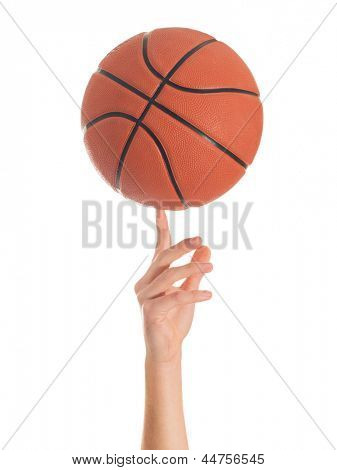Close-up Of Hand Spinning Basket Ball On White Background