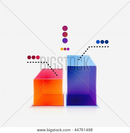 Abstract colorful glossy graph concept / icon