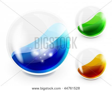 Glass sphere with color liquid inside. Vector icon