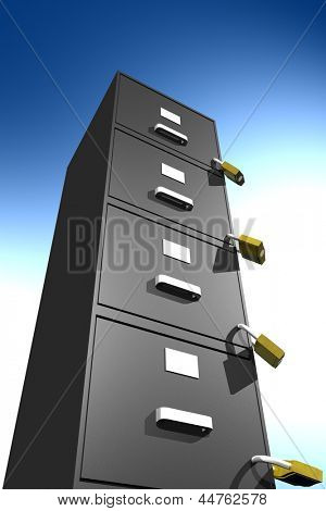 Photo of locked file cabinet (3D)