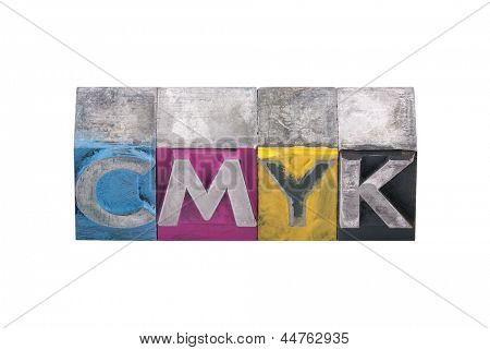 Cmyk made from metal letters