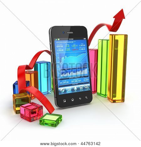 Stock exchange application on mobile and graph. 3d