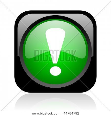 exclamation sign black and green square web glossy icon