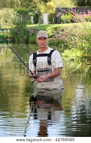 Fisherman stuck in river