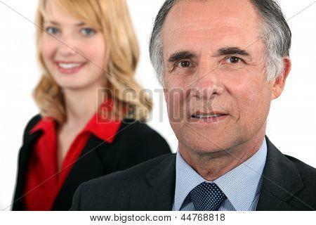 Senior businessman female intern