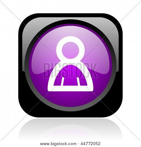 account black and violet square web glossy icon