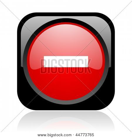 minus black and red square web glossy icon