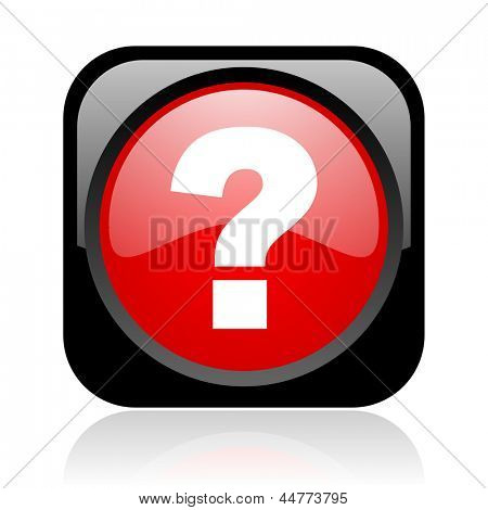 question mark black and red square web glossy icon