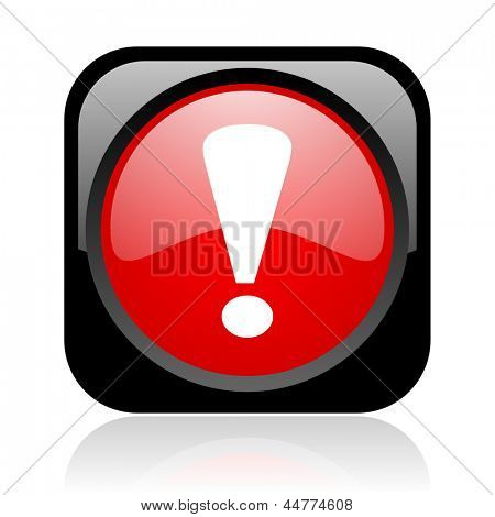 exclamation sign black and red square web glossy icon