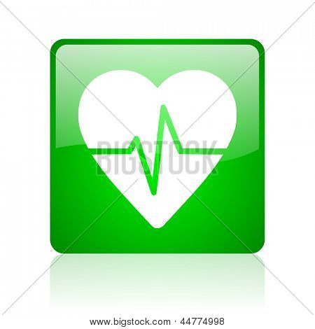 cardiogram green square web glossy icon