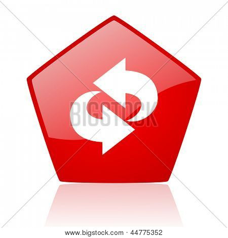 rotate red web glossy icon