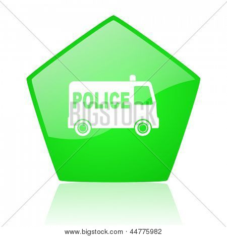 police green pentagon web glossy icon