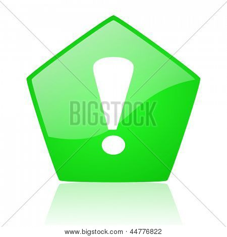 exclamation sign green pentagon web glossy icon