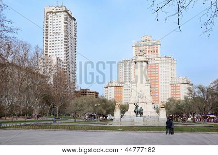 Spain Square, monument to Cervantes, Don Quixote and Sancho Panza in Madrid, Spain.