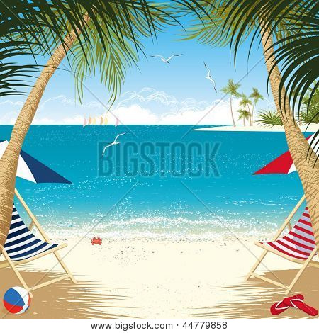 Tropical island with deck chairs under palm trees