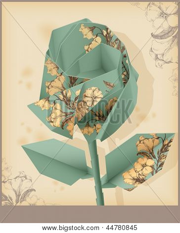 Rose made from vintage decorative paper. Eps 10