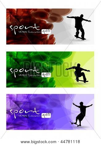 Skateboarders. Vector