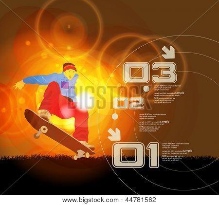 Jumping skateboarder silhouette. Vector