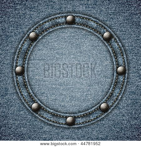 Stitched denim background with round riveted copyspace -eps10