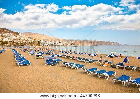 Beach Playa los Cristianos on Tenerife, Spain.