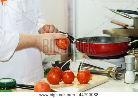 Chef Prepares A Meal