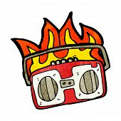 burning radio cassette player cartoon