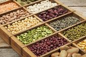stock photo of legume  - old wooden typesetter box with 16 samples of assorted legumes - JPG