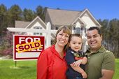 foto of yard sale  - Mixed Race Young Family in Front of Sold Home For Sale Real Estate Sign and New House - JPG