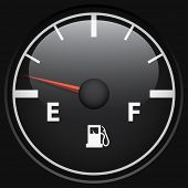 picture of gage  - Black fuel gage isolated on black background vector template - JPG