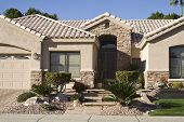 picture of entryway  - Closeup of home with stone entryway in Arizona - JPG