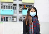 woman wearing protective face mask on street