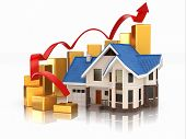 stock photo of line graph  - Growth of real estate market House and graph - JPG