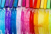 image of sticks  - Colorful chalk pastels  - JPG