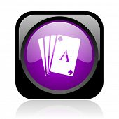 playing cards black and violet square web glossy icon