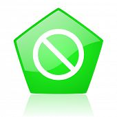 access denied green pentagon web glossy icon