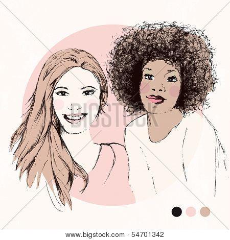 Pretty girls BFF fashion model portrait friends `in soft pastels in vector